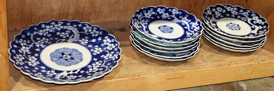 Japanese Blue-and-White Porcelain Floral Plates