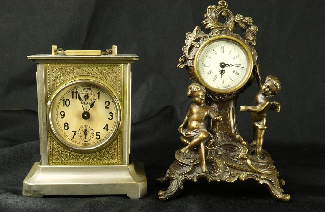 German mantle clock group, consisting of Rococo Revival