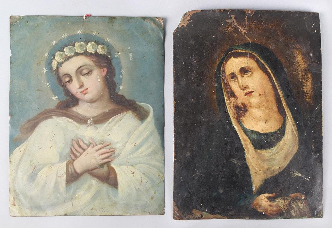 Pair of tole painted portraits on copper panels