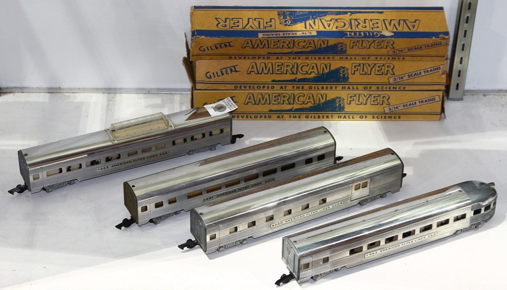 Vintage Gilbert American Flyer train cars, consisting