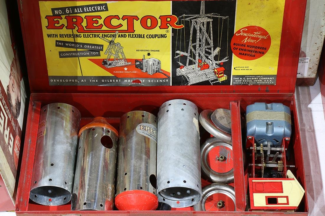 "vintage partial Erector sets plus  cases, largest, 3""h - 3"