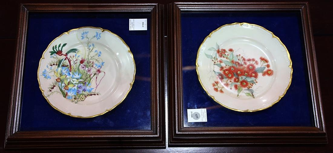 Framed Czech porcelain plates