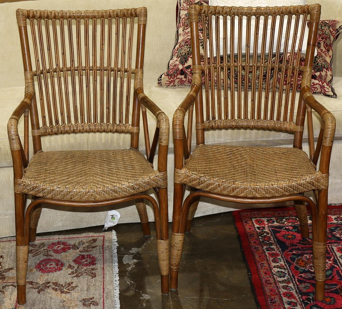 "Sika Design McGuire style bamboo rattan chairs, 37""h x"
