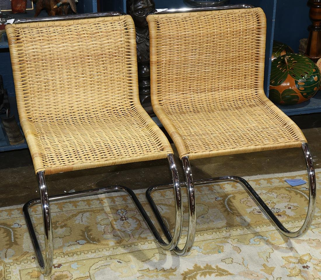 Mies Van Der Rohe side chairs, the frame executed in