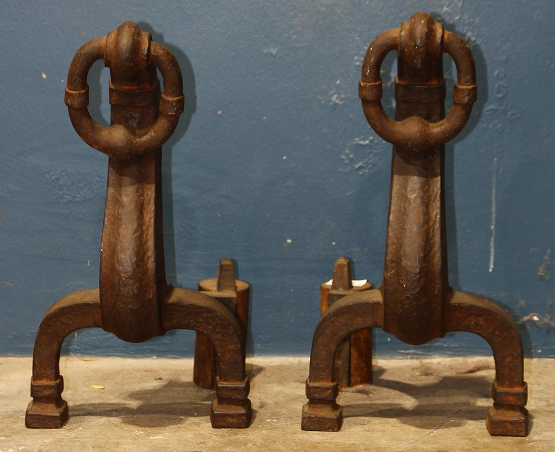 Arts and Crafts Andirons, each having a large ring,