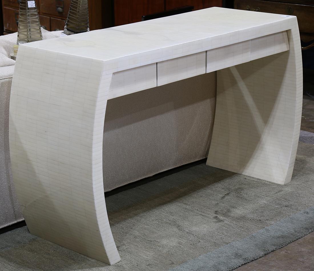 Moderne console table, having white mosaic veneer, the