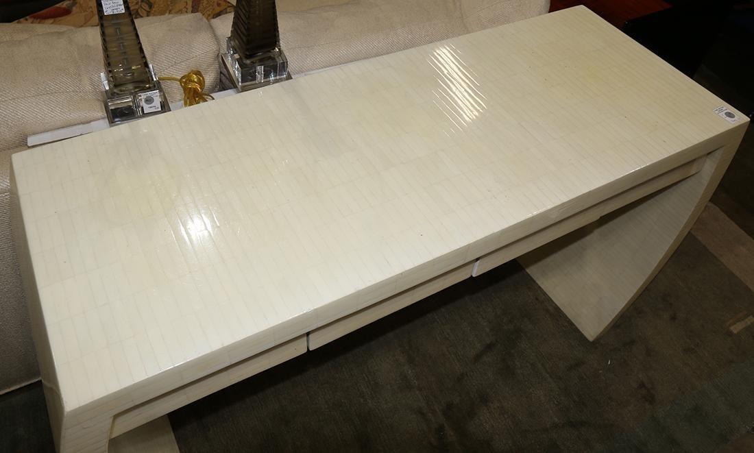 Moderne console table, having white mosaic veneer, the - 2