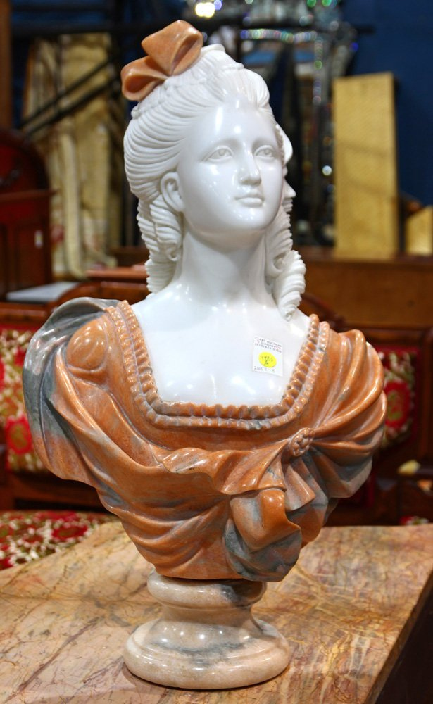 Italian style carved marble bust