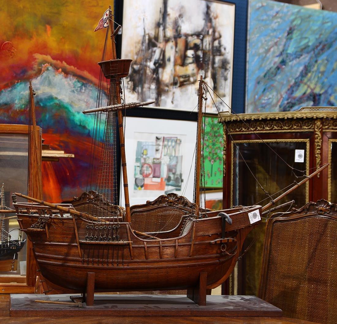 Wood model ship