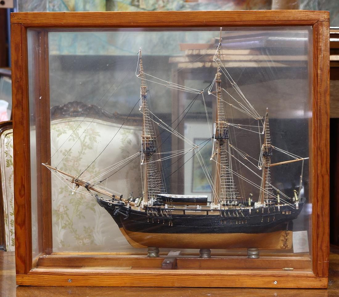 Cased ships model, depicting the H