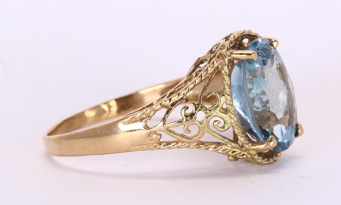 Aquamarine and 14k yellow gold ring - 2