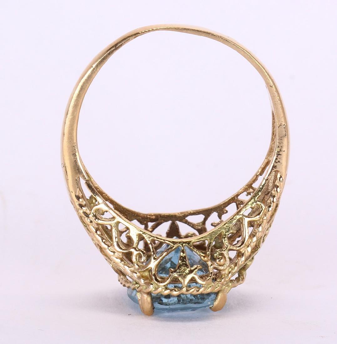 Aquamarine and 14k yellow gold ring - 3
