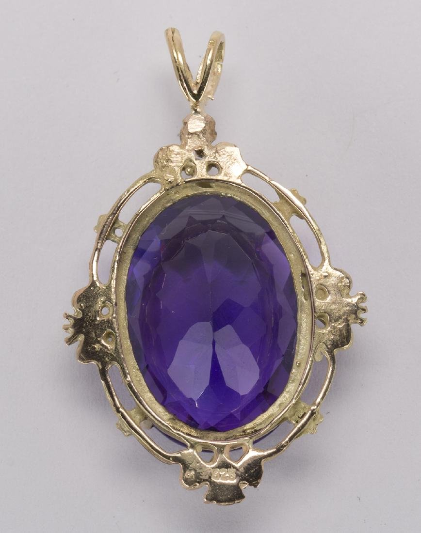 Amethyst and 14k yellow gold pendant - 2