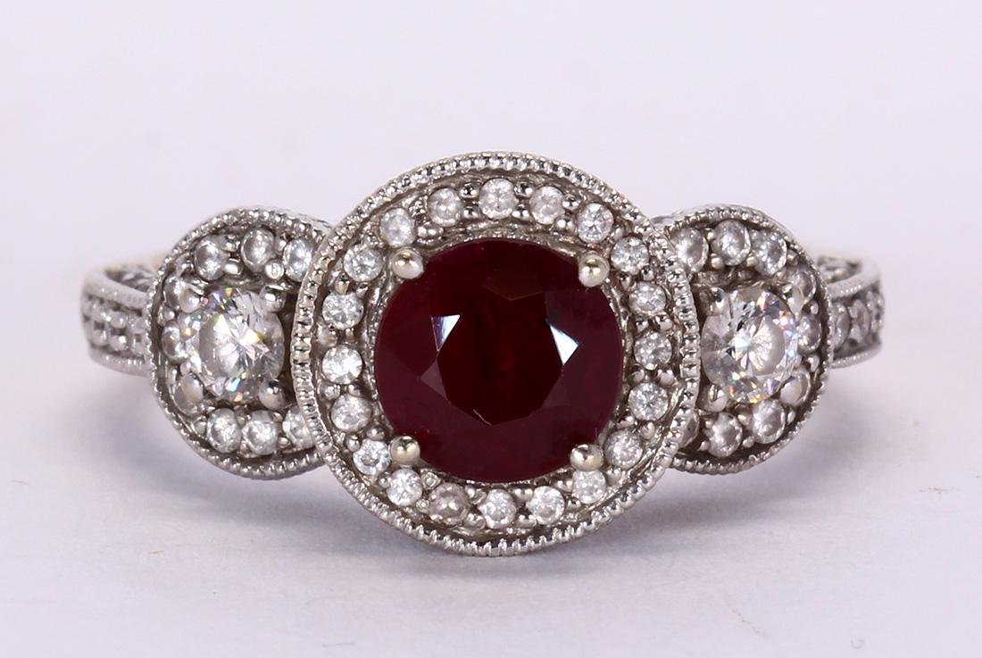 Ruby, diamond and 14k white gold ring