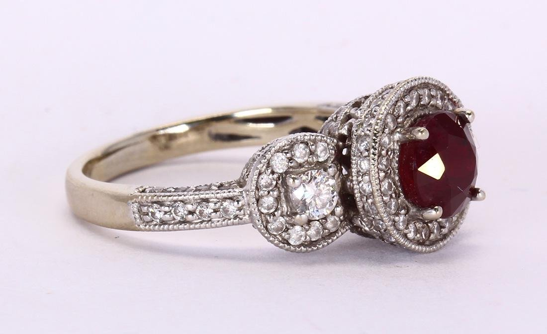 Ruby, diamond and 14k white gold ring - 2