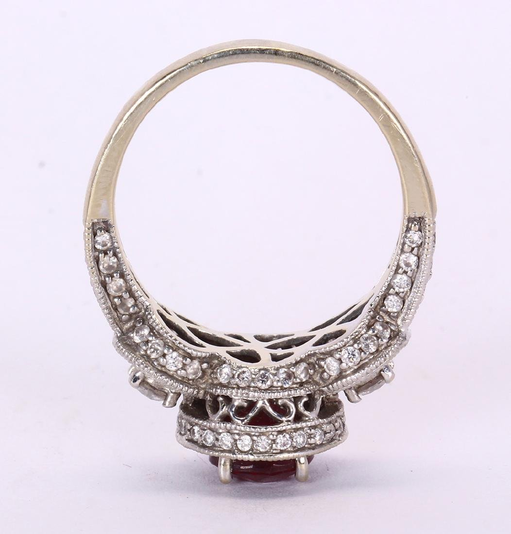 Ruby, diamond and 14k white gold ring - 4