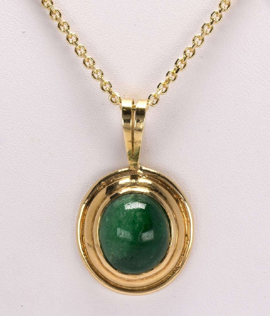 Emerald and 14k yellow gold pendant-necklace