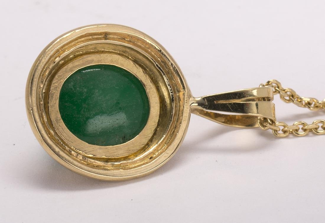 Emerald and 14k yellow gold pendant-necklace - 3