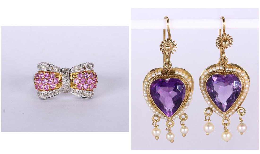 Amethyst, sapphire, cultured pearl and gold jewelry