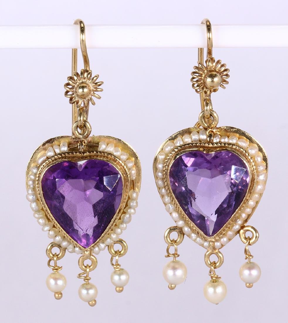 Amethyst, sapphire, cultured pearl and gold jewelry - 4