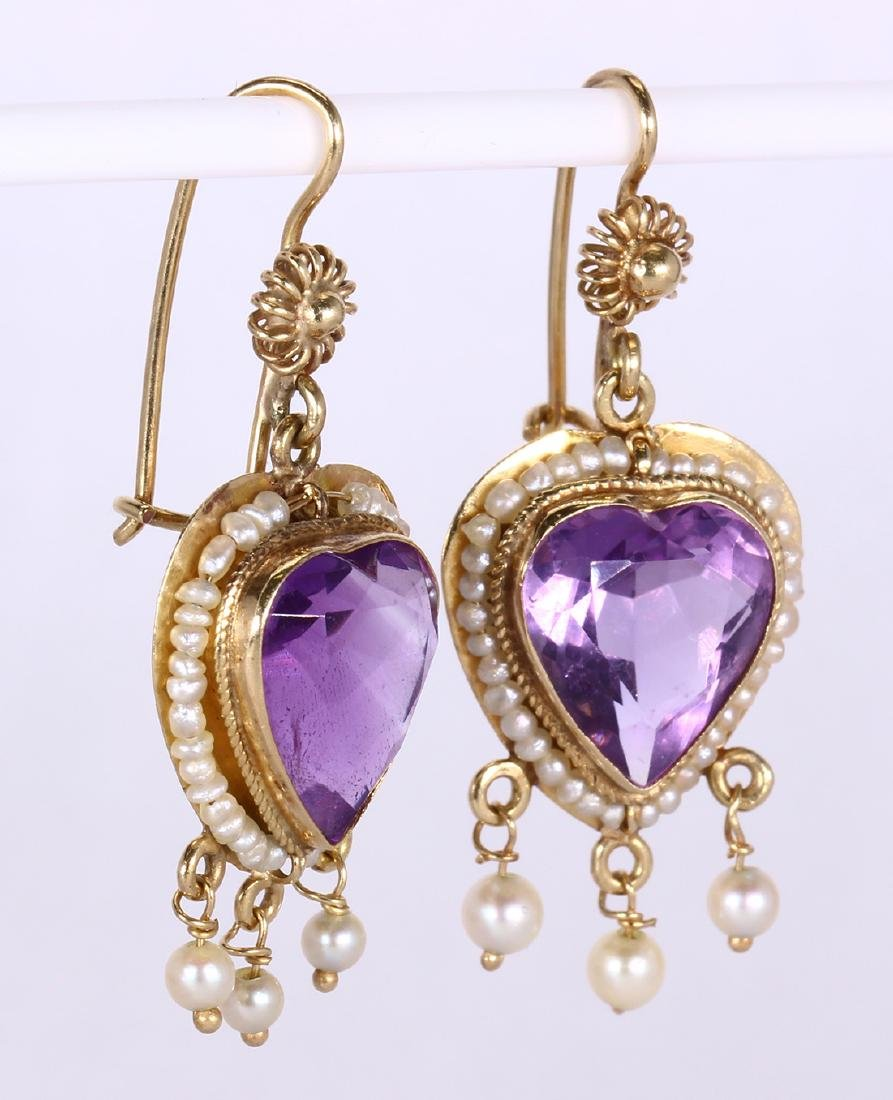 Amethyst, sapphire, cultured pearl and gold jewelry - 5
