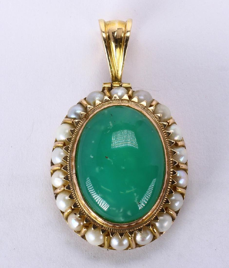 Chrysoprase, cultured pearl and 14k yellow gold pendant