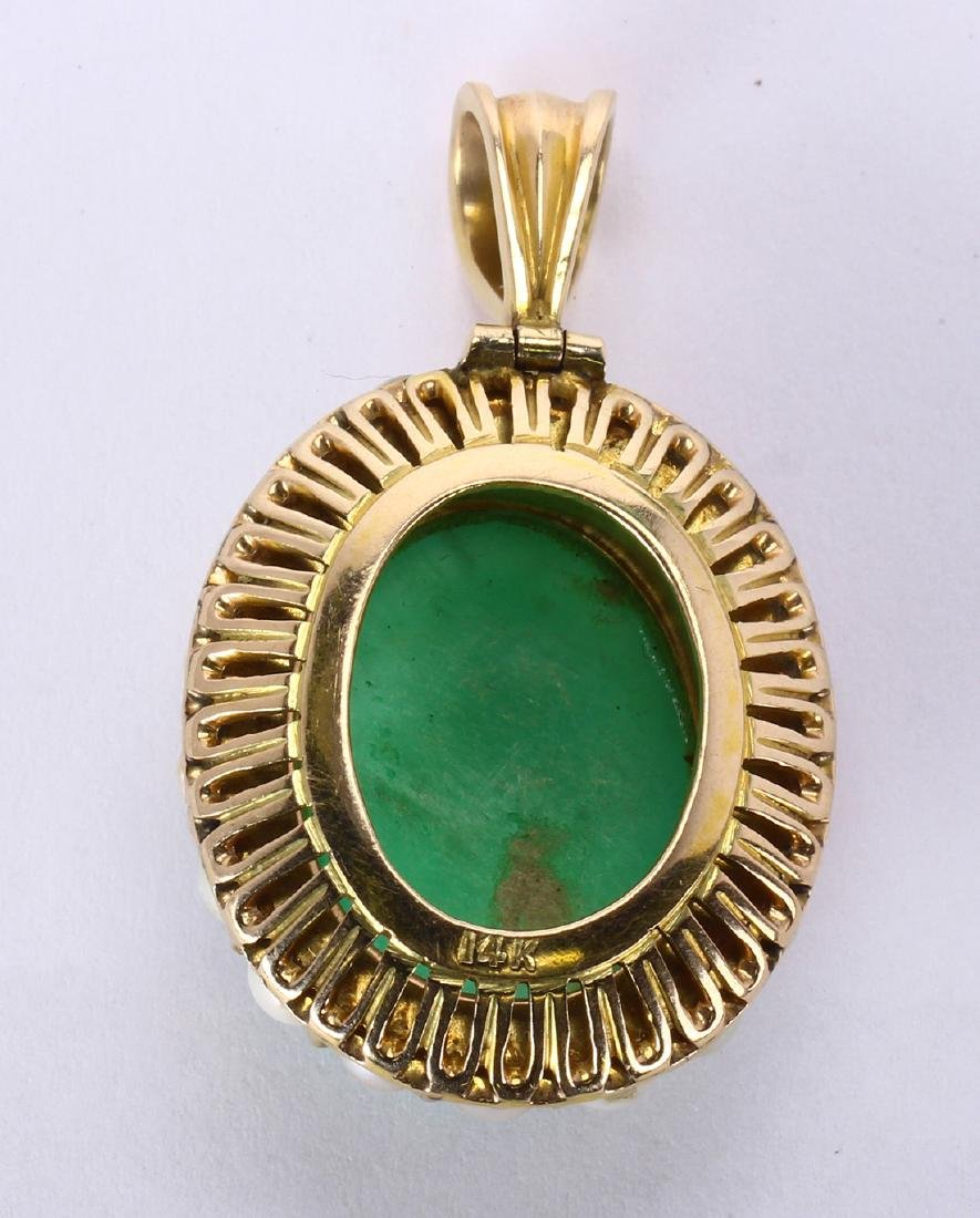 Chrysoprase, cultured pearl and 14k yellow gold pendant - 2
