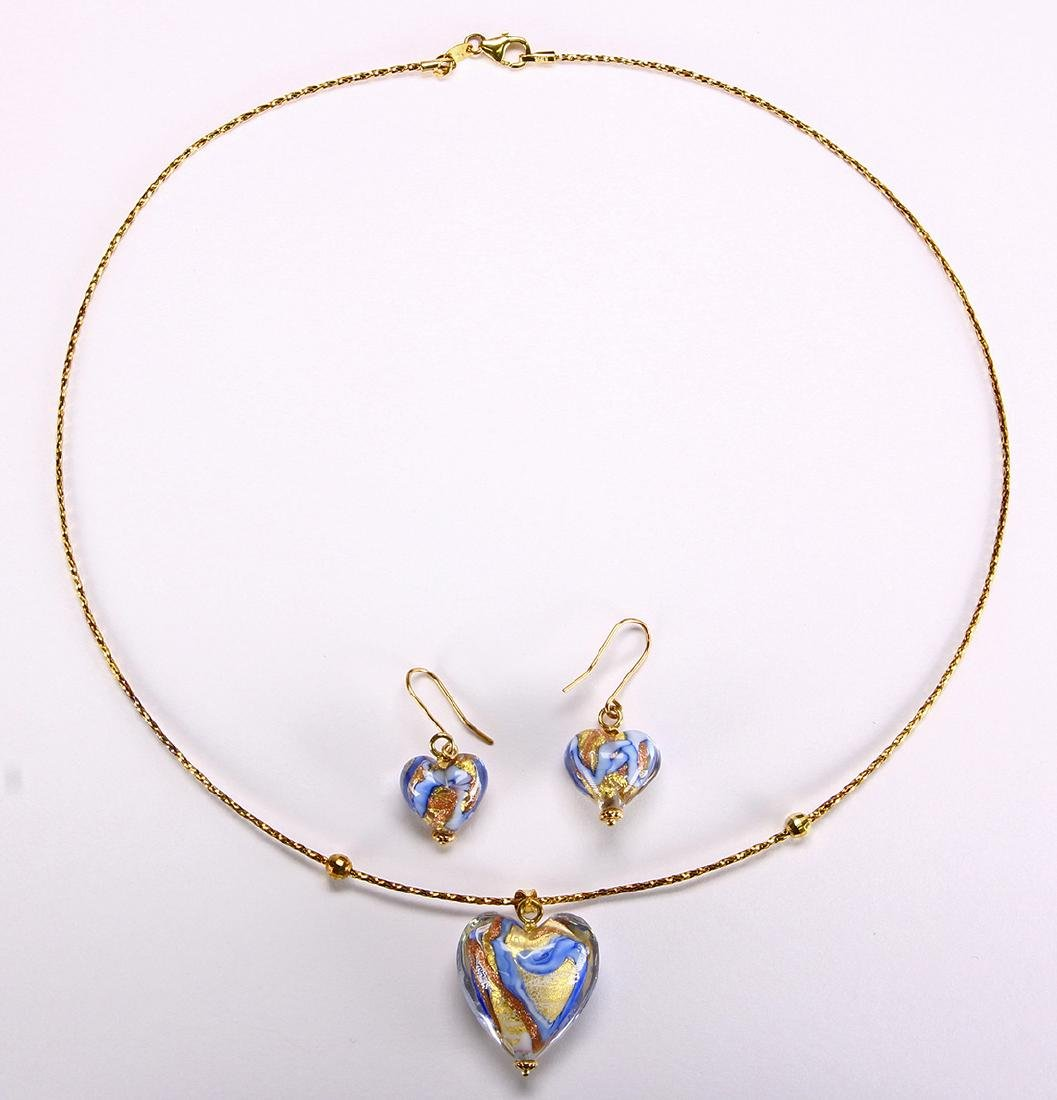 Glass, 14k yellow gold jewelry suite - 2
