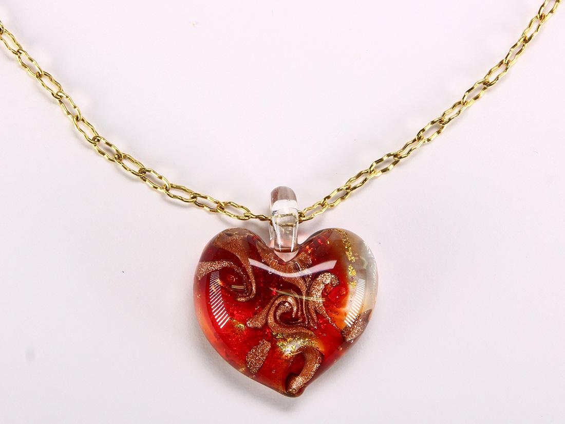 Glass and 14k yellow gold heart necklace