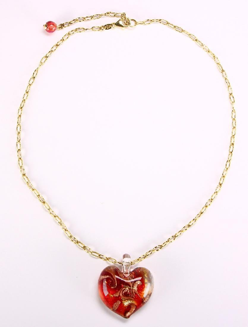 Glass and 14k yellow gold heart necklace - 2