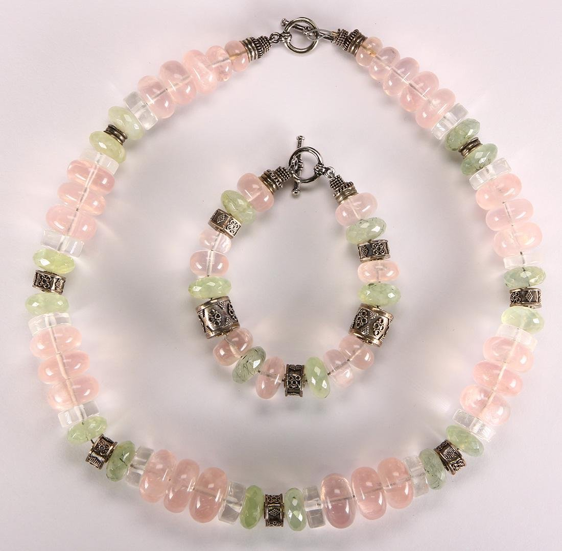 Multi-stone bead, silver and metal jewelry suite