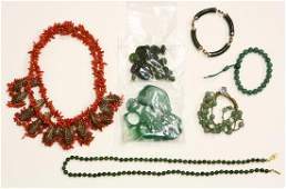 Collection of multistone metal jewelry and stones