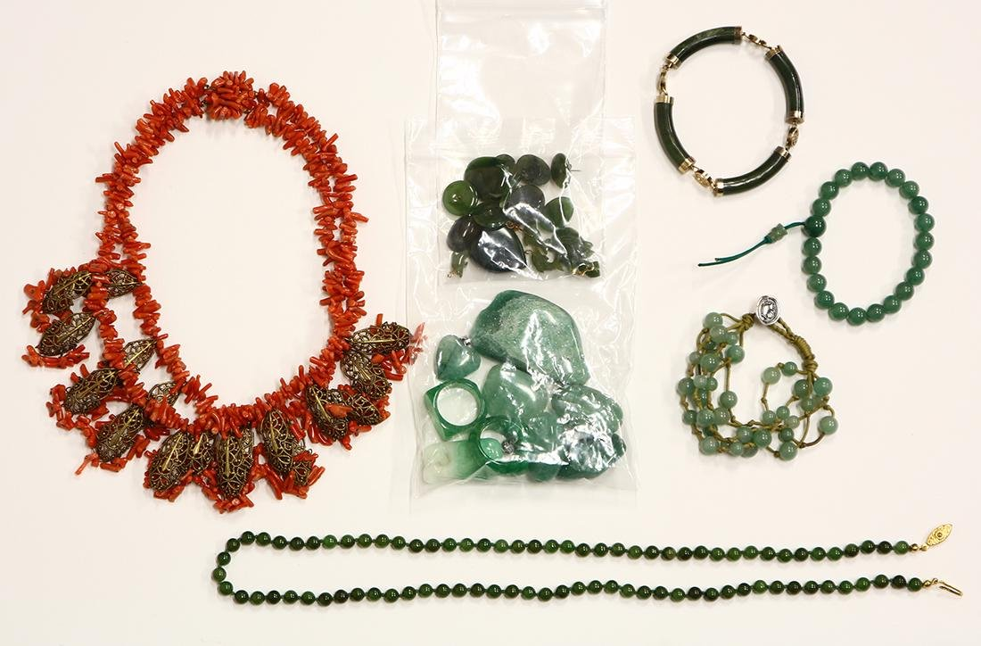 Collection of multi-stone, metal jewelry and stones