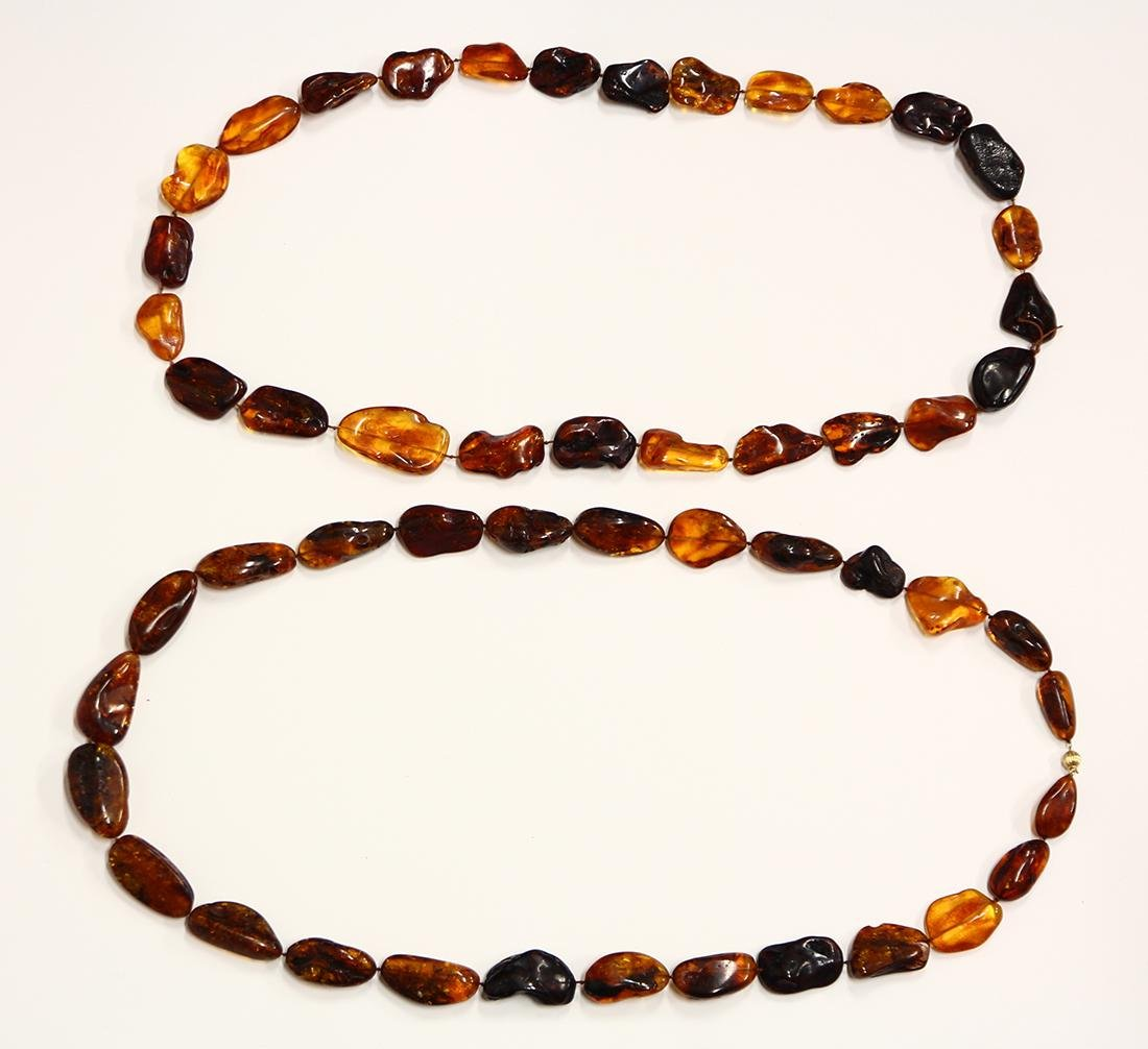 Amber bead and 14k yellow gold necklaces