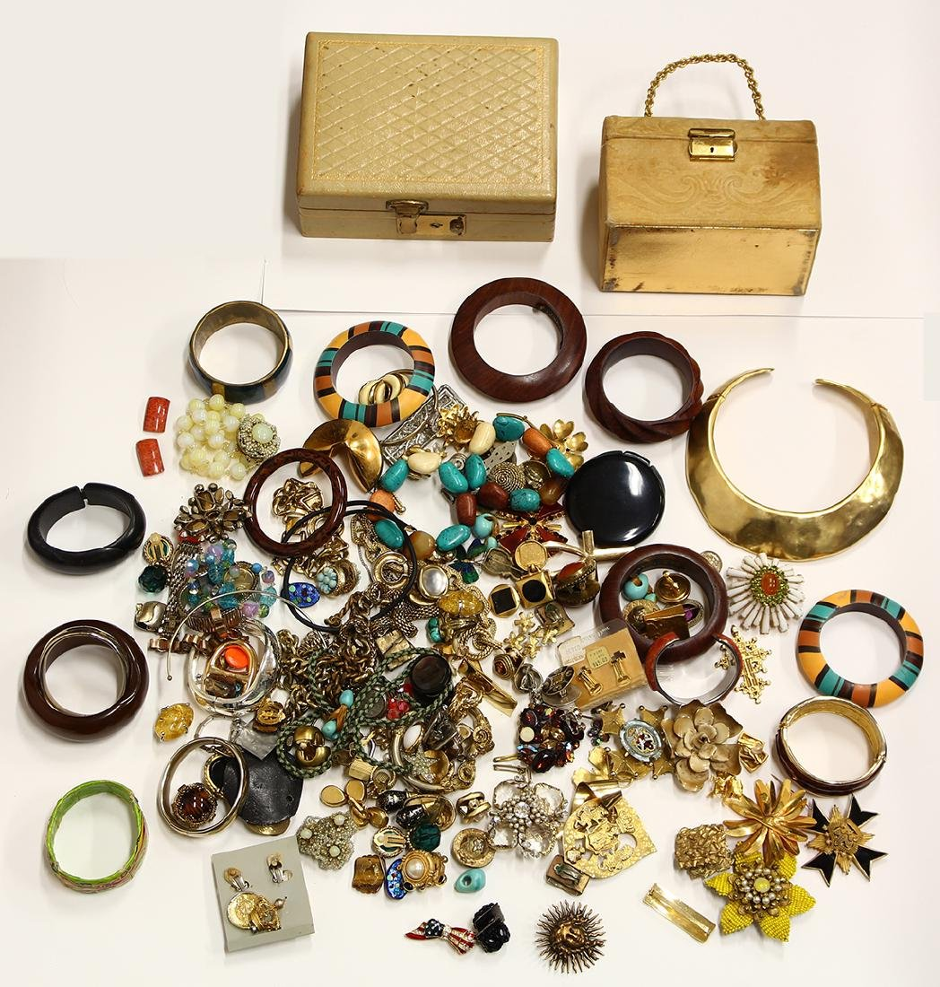 Collection of costume jewelry and boxes