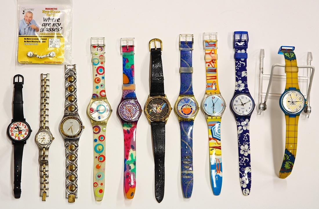 Plastic and metal watches and items