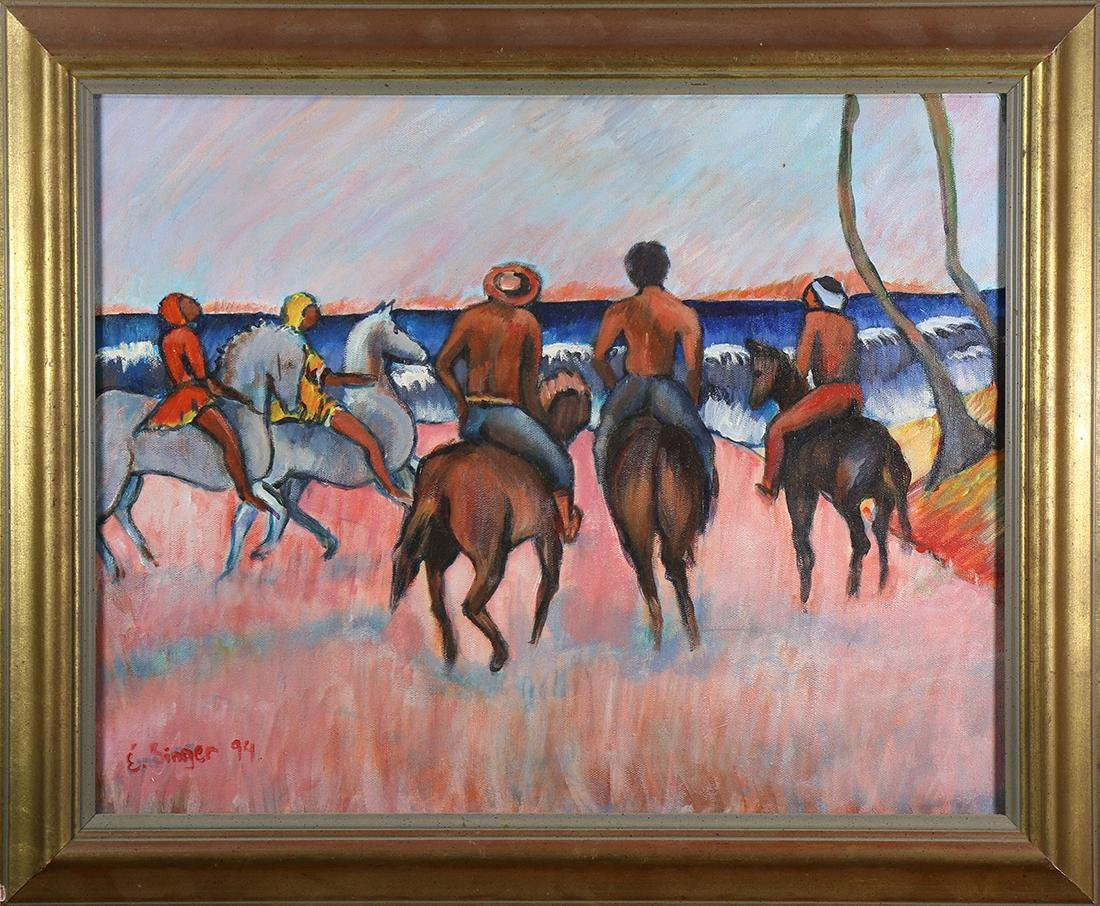 Painting, Beach Scene with Figures on Horses
