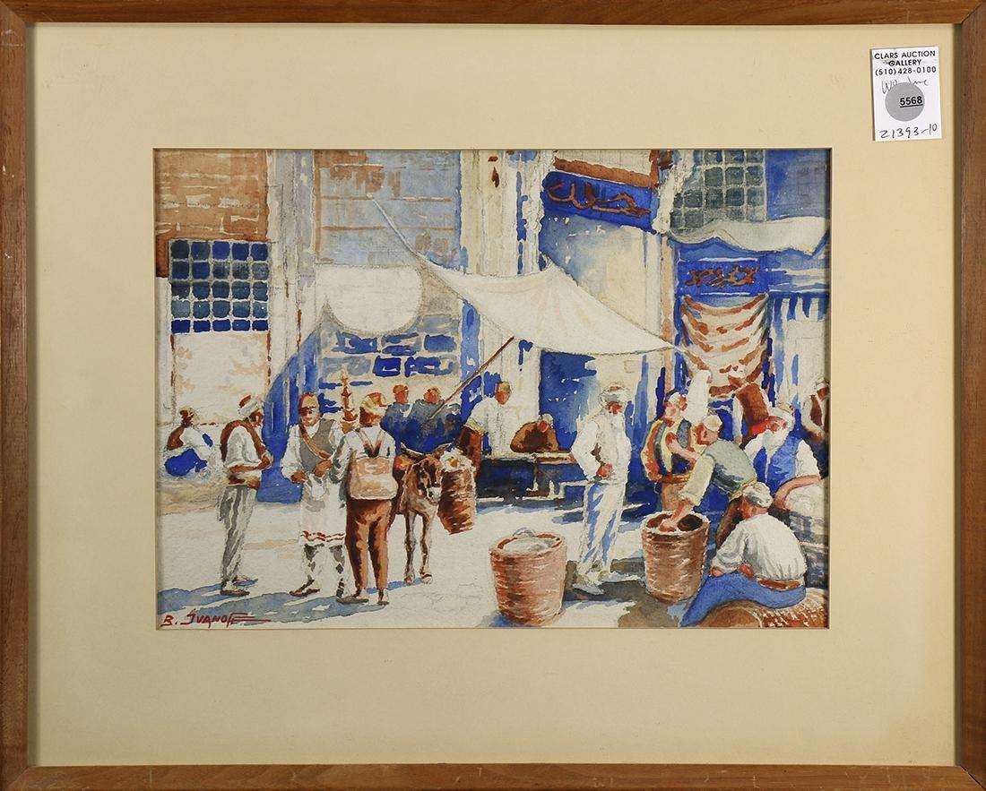 Watercolor, Orientalist Street Bazaar with Figures,