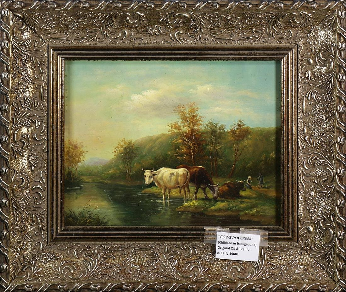 Painting, Children and Cows by a Creek,