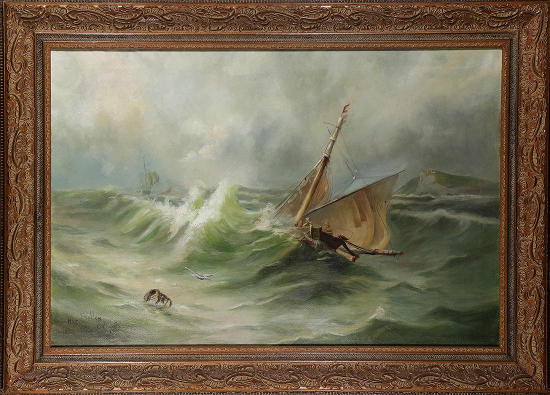 Painting, Sailboat in Rough Seas