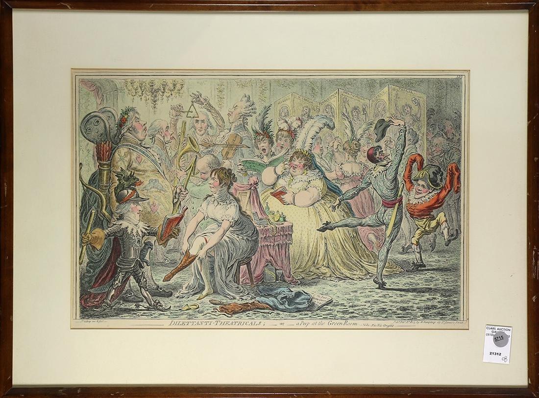 Print, James Gillray, Dilettanti-Theatricals or a Peep