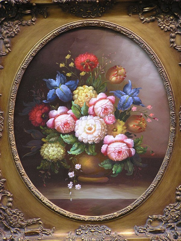 1: Oil on canvas, Still Life of Flowers