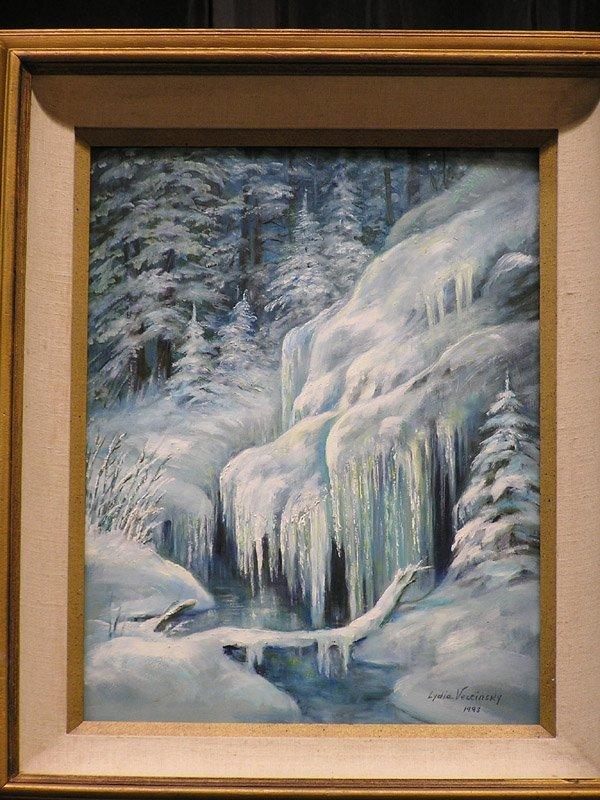 8: Oil of Frozen River, signed Vercinsky