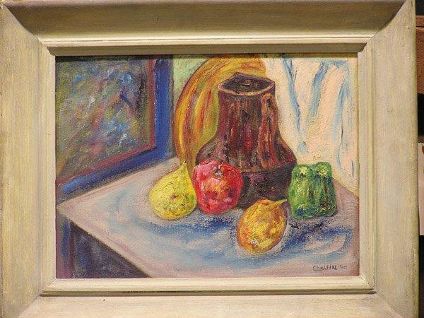 9: Chalfin, oil/canvasboard, still life, 20th