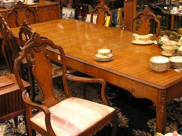 69: Art Deco Louis XV satinwood dining set
