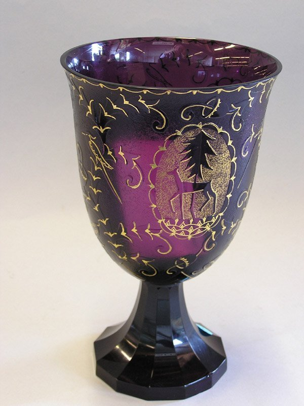 198A: Amethyst Glass and Gilt Bohemian Chalice