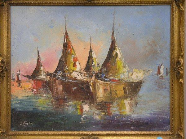 293: R. Viard, oil, boats