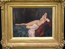 343: Framed oil, Nude, J. Greenwood