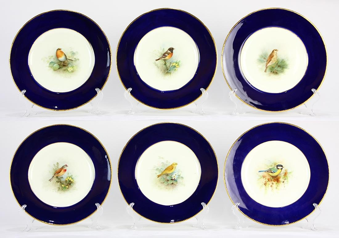 (lot of 6)  Royal Worcester hand painted porcelain game