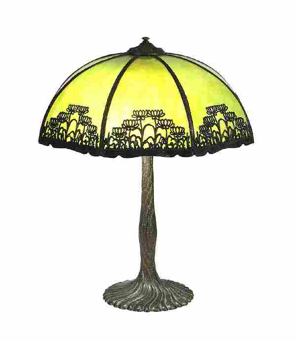 Arts and Crafts Chicago Mosaic metal overlay table lamp